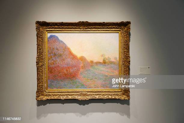 A painting entitled Meules by Claude Monet is displayed during the unveiling of new public art galleries at Sotheby's on May 03 2019 in New York City