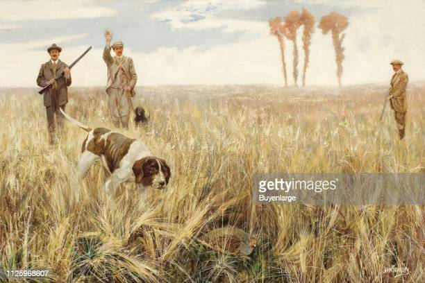 Painting entitled 'The Hunt' shows three members of a hunting party as their dog tracks a downed quail 19th or 20th century