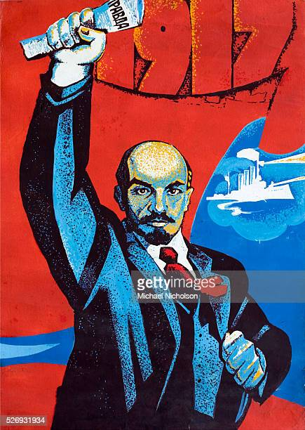 Painting for a poster of Lenin bearing aloft a copy of the newspaper Pravda In the background is the battleship Aurora from which the first shots of...