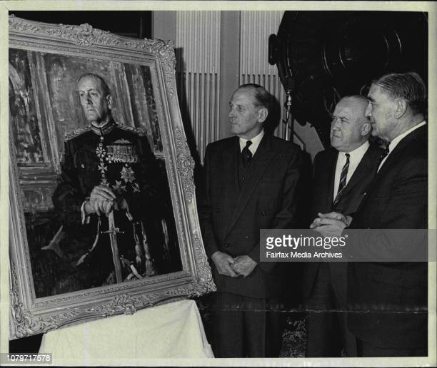 Painting For Govt HouseA portrait of the State Governor Sir Eric Woodward by Sydney artists W E Pidgeon was unveiled at a ceremony at the Sydney Town...