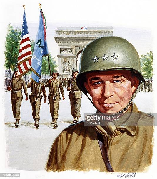 Painting for the US Army 'Stars and Stripes' newspaper of General Omar Bradley in front of the Arc de Triomphe as the Allies parade through streets...