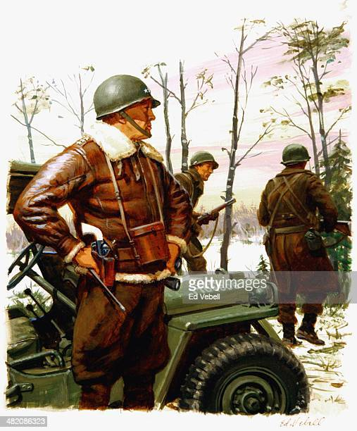 A painting for the US Army Stars and Stripes newspaper shows US Army General George S Patton during the Battle of the Bulge near the besieged town of...