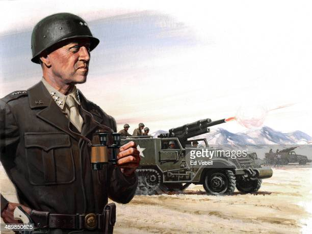 A painting for the US Army 'Stars and Stripes' newspaper shows US Army General George S Patton during the Battle of El Guettar in southcentral...