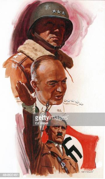 A painting for the US Army 'Stars and Stripes' newspaper shows WW2 combatants George S Patton Dwight D Eisenhower and Adolph Hitler in 1944
