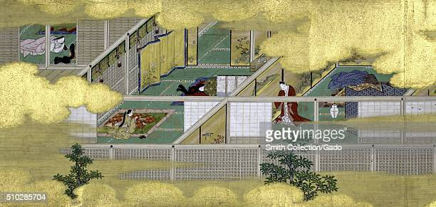 A painting from The Tale of Genji Scroll in the painting style known as Yamatoe depicts life inside a Japanese home family members can be seen in...