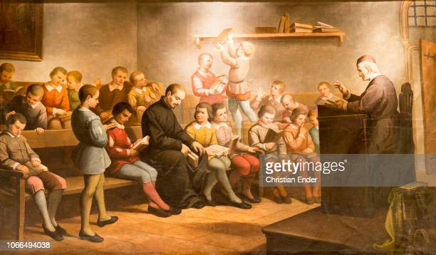 Painting Ignatius in Barcelona with students of the Master Ardèvol's grammar class Painted by G Sebastià Gallés for the Chapel of the Jesuit...