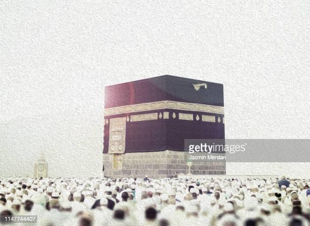 painting illustration of kaaba - la mecque photos et images de collection
