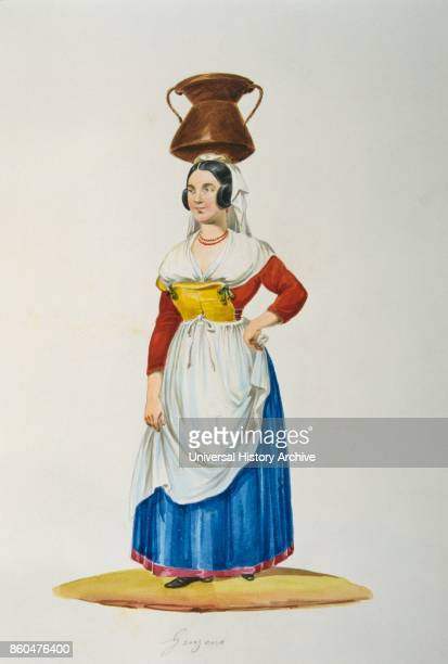 painting in Gouache depicting an Italian peasant in traditional costume Circa 1850