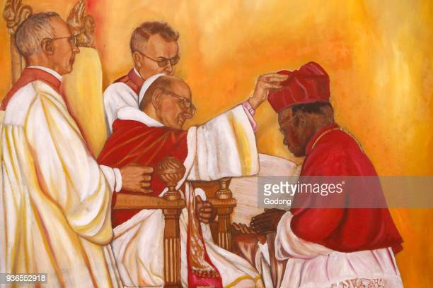 Painting in Namugongo catholic martyrs' shrine church Kampala Ordination of a Ugandan bishop Uganda