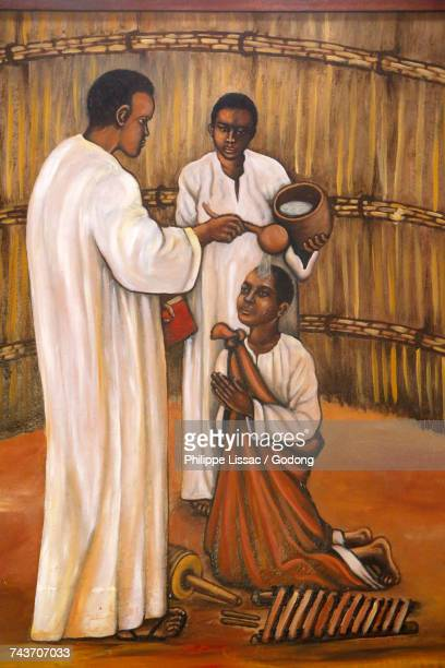 painting in namugongo catholic martyrs shrine church, kampala. uganda. - martyrs of uganda catholic church stock pictures, royalty-free photos & images