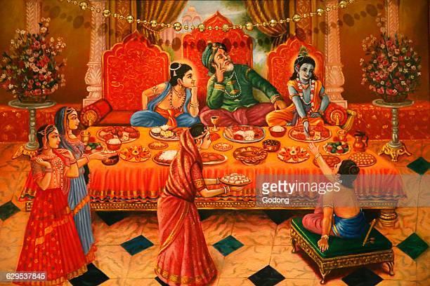 Painting in the London ISKCON hindu temple Krishna with his brother Balaram and his father Nanda Maharaj