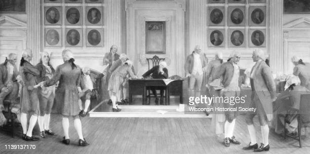 Painting in the Wisconsin State Capitol of 'The Signing of the American Constitution' one of four mural paintings by Albert Herter on the west wall...