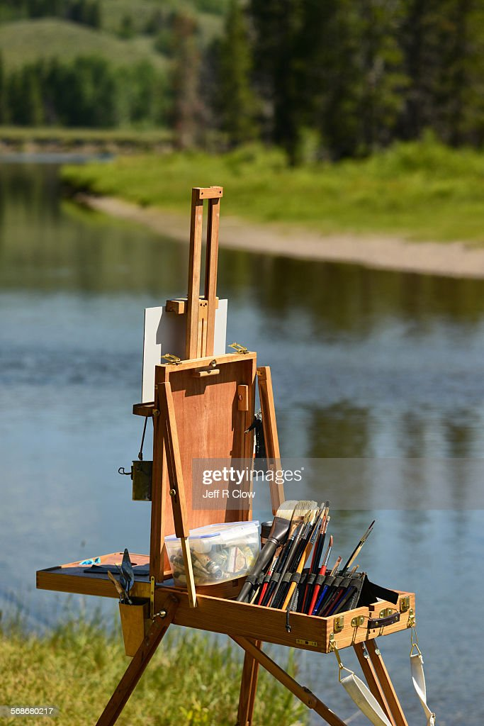 Painting Kit in Nature : Stock Photo