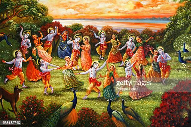 Painting made at ISKCON Mayapura, India : Krishna and Radha surrounded by dancing couples