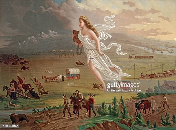 Painting Manifest Destiny Shows a female figure Potentially an angel leading the pioneers westward They travel by foot stagecoaches and railways On...