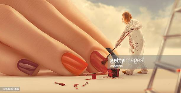 painting nails - fingernail stock pictures, royalty-free photos & images