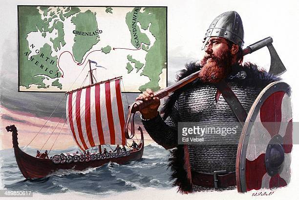 A painting Norse explorer Lief Erickson with a long ship and map showing the route from Scandinavia to North America that it is believed that he...