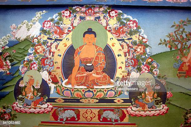 A painting of a buddha inside the Norbulingka Institute in Himachel Pradesh India   Location Norbulingka Institute Himachel Pradesh India