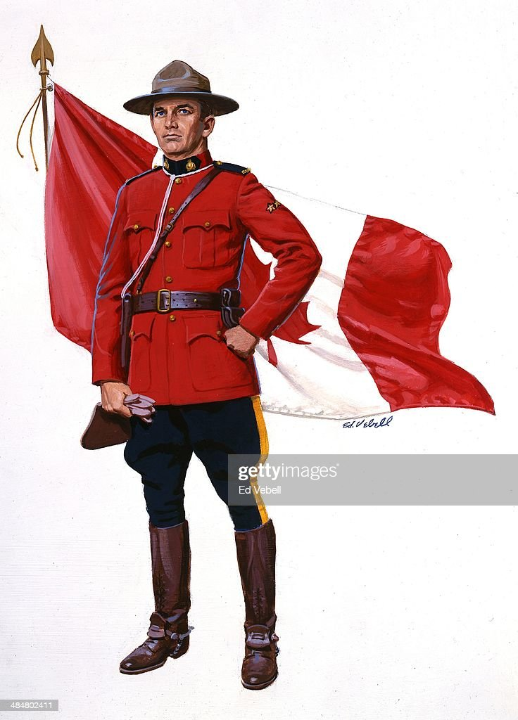 A painting of a Canadian Mounted Policeman aka Mountie and a Canadian Flag in 1960 in Canada.
