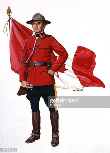 A painting of a Canadian Mounted Policeman aka Mountie and a Canadian Flag in 1960 in Canada