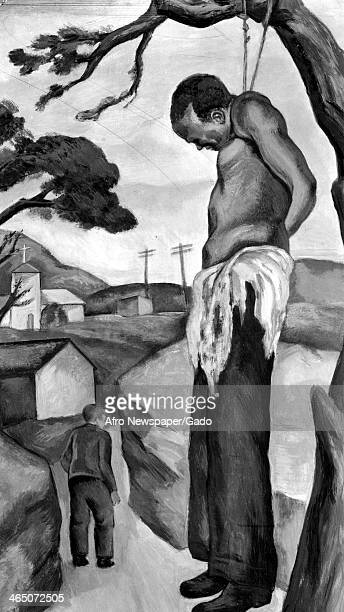 A painting of a hanged African American man during a lynching by artist Allan Freelon 1934