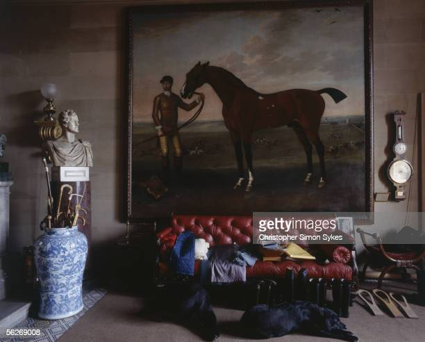Painting of a horse in Chatsworth House, Derbyshire, 1980s.