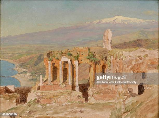 Painting of a landscape View of the Ruins of the Greek Theater at Taormina and Mount Etna Sicily 1868