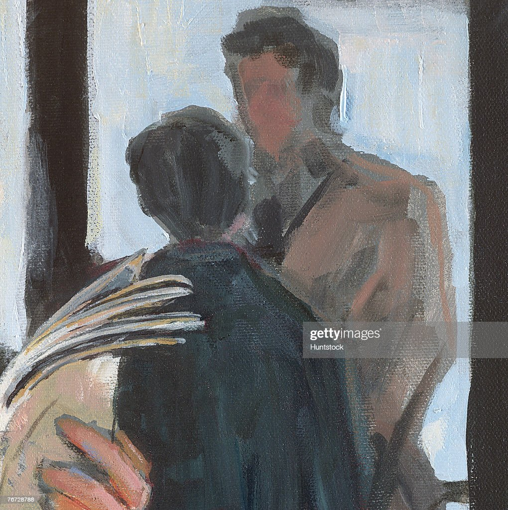 Talking With Painters: Painting Of A Man And Woman Talking Stock Photo