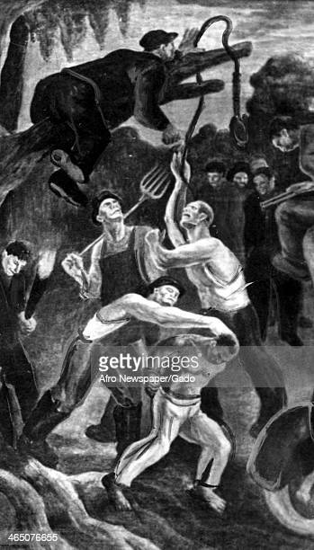 A painting of a mob hanging an African American man during a lynching by artist Allan Freelon 1934