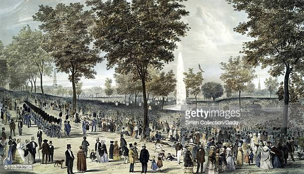 A painting of a people gathered for a celebration on Boston Common an estimated 300000 people attended the event commemorating the completion of the...