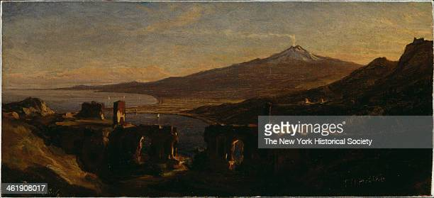 Painting of a view from the Ruins of the Greek Theater at Taormina Sicily with Mount Etna 1868