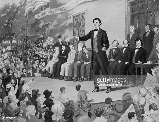 Painting of Abraham Lincoln giving a speech on stage at the LincolnDouglas debate at Knox College Galesburg Illinois October 7th 1858 Print from the...
