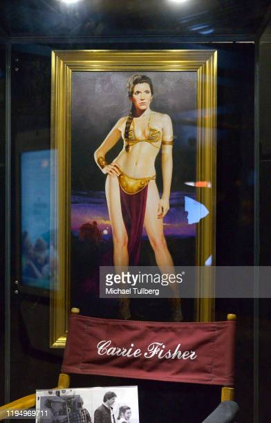 """Painting of actress Carrie Fisher at the Carrie Fisher pop-up museum """"The Todd Fisher Collection"""" at TCL Chinese Theatre on December 19, 2019 in..."""