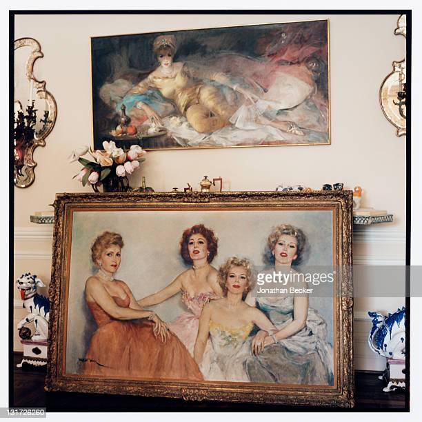 A painting of actress Zsa Zsa Gabor with mother Jolie Gabor and sisters Magda Gabor and Eva Gabor is photographed in her home for Vanity Fair...