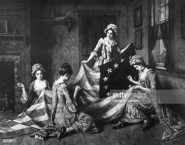 Painting of American seamstress Betsy Ross sewing the American flag with her assistants Philadelphia Pennsylvania