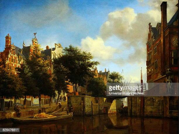 Painting of Amsterdam City View with Houses on the Herengracht and the old Haarlemmersluis Painted by Jan van der Heyden Dated 17th Century