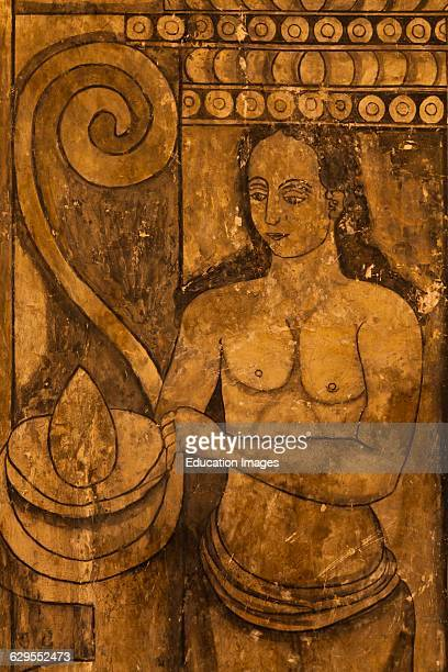 Painting Of An Indigenous Woman In The 16Th Century Convent Of Cuilapan The Former Monastery Of Santiago Apostol Cuilapan De Guerrero Mexico Near...