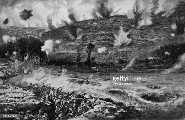 Painting of Arras artillery barrage France