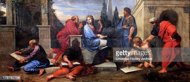 Painting of Aspasia Surrounded by Greek Philosophers by Michel II Corneille Oil on canvas Circa 1680 On display at the palace of Versailles