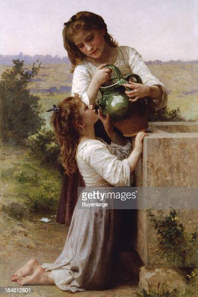 Painting of At a Well a big sister pours fresh water from a pitcher into the open mouth of her kneeling younger sister 1855