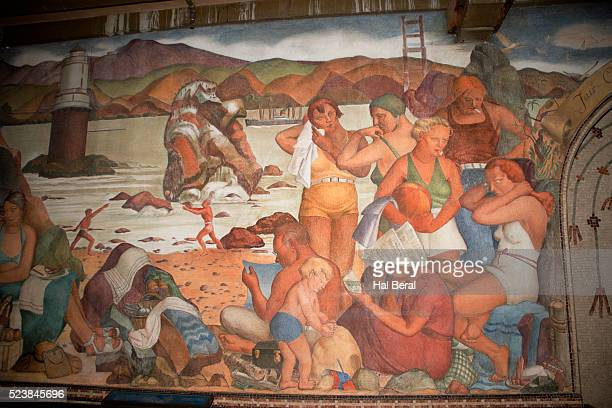 painting of beach scene in the beach chalet at golden gate park - wpa stock pictures, royalty-free photos & images