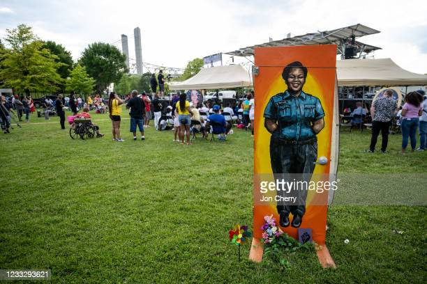 """Painting of Breonna Taylor in her EMT uniform is seen during the """"Praise in the Park"""" event at the Big Four Lawn on June 5, 2021 in Louisville,..."""