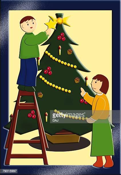 Painting of Children decorating Christmas tree, Illustration