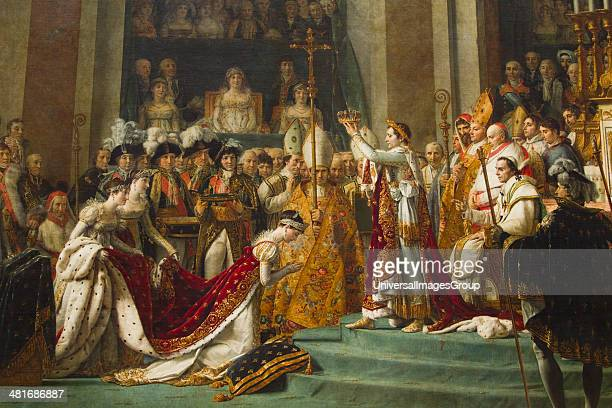 Painting of Coronation Of Napoleon in a museum Musee Du Louvre Paris France