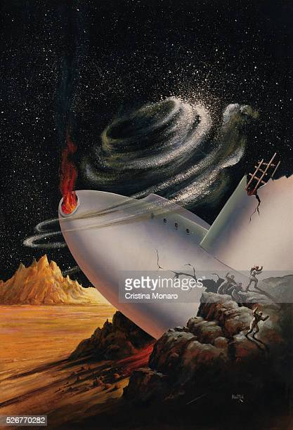 Painting of Crashed Spaceship by Albert A Nuetzell