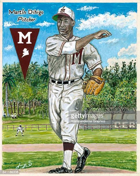 Painting of Cuban five time Hall of Fame player Martin Dihigo, Havana, Cuba, 1995.