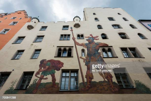 painting of david and goliath in regensburg - david and goliath stock photos and pictures