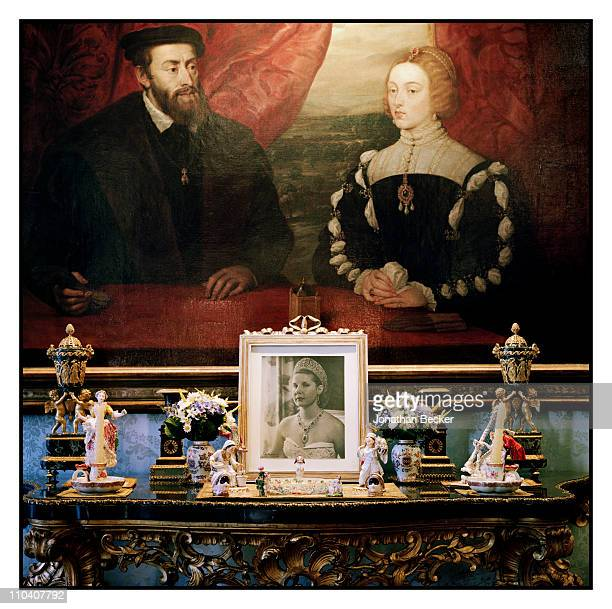 A painting of Emperor Carlos V and the Empress Isabel of Portugal by Rubens is photographed in the Flamenco room of the Palacio de Liria for Vogue...