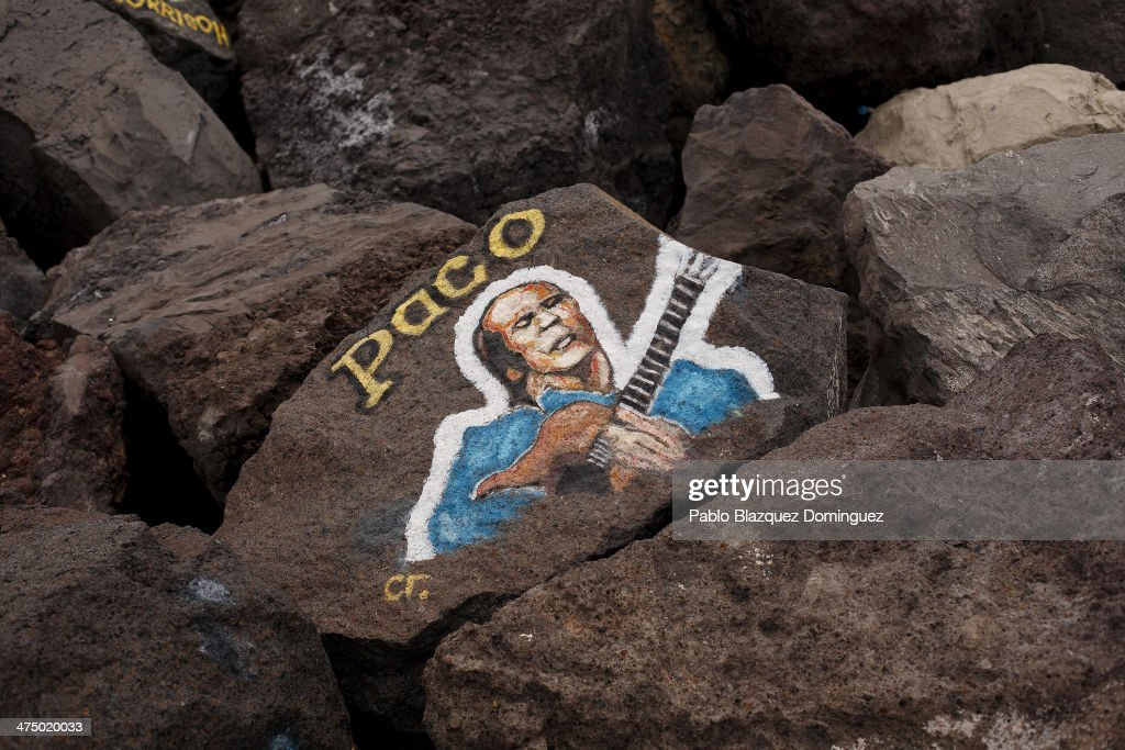 A Painting Of Flamenco Guitarist Paco De Lucia Is Displayed Near Adan Martin Auditorium At The