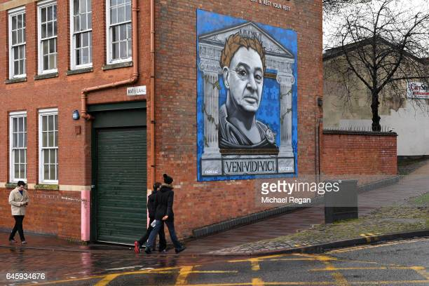 A painting of former Leicester City Manager Claudio Ranieri is seen in the city centre prior to the Premier League match between Leicester City and...